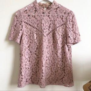 Wayf blush pink lace high neck blouse